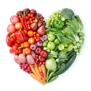 heart consisting of vitamin-rich foods
